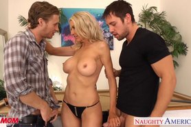 Busty Emma Starr suck and fuck two cocks in threesome