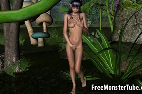 Hot 3D elf babe gets fucked by a monser in the woods