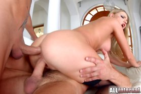 Lucy Heart gets anal creampie from two guys