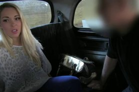 Busty blonde fucked and creampied on fake taxi bonnet