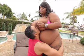 Huge Tit Ebony BBW Pink Kandi Fucked by Pool in Miami