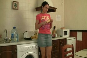 Hairy sister anal fun in kitchen
