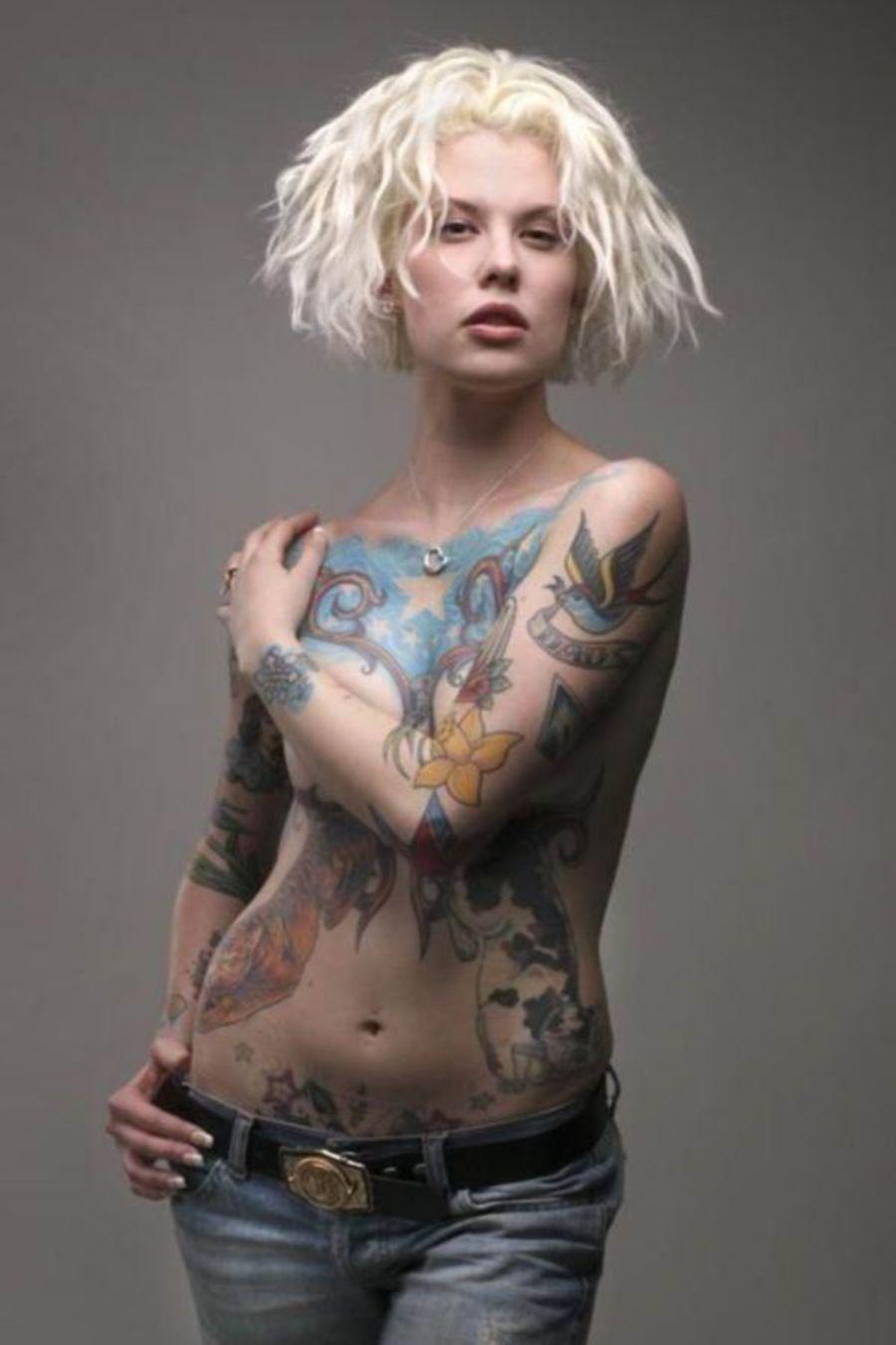 Tattoos nude chest hot blonde girls