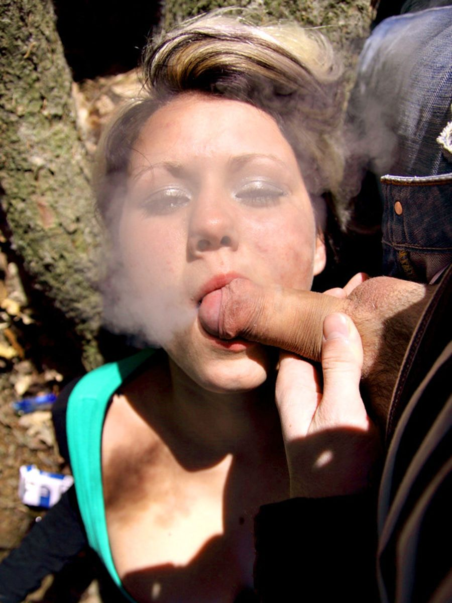 Outdoor bj w/ smoking and cumshot