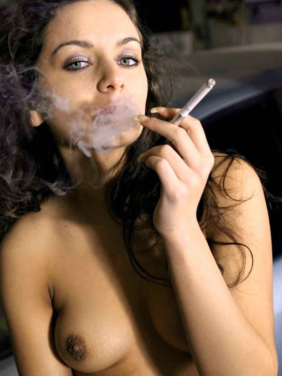 Nude girl in smoking
