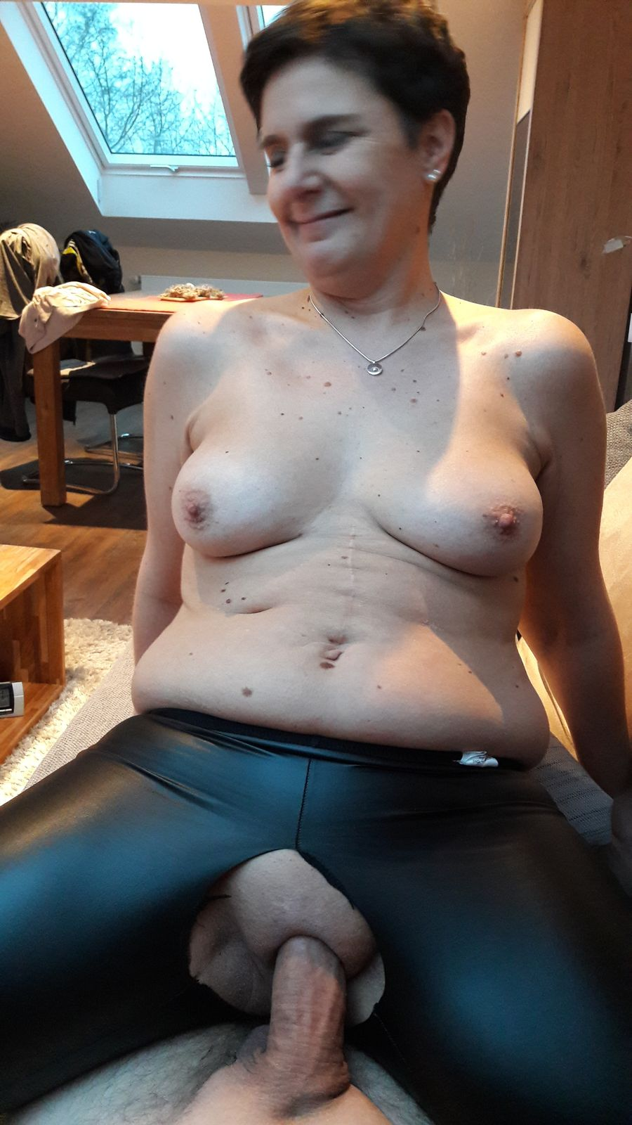 My horny fat chubby friend plays with her hairy pussy 8