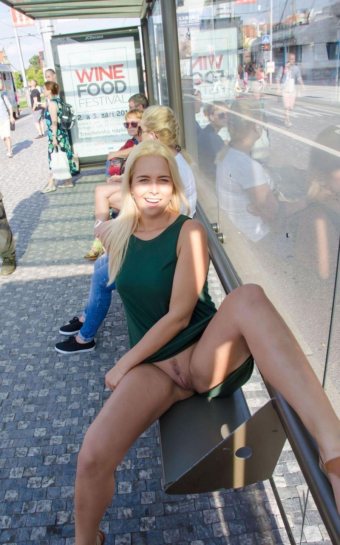 Pantyless girls in public