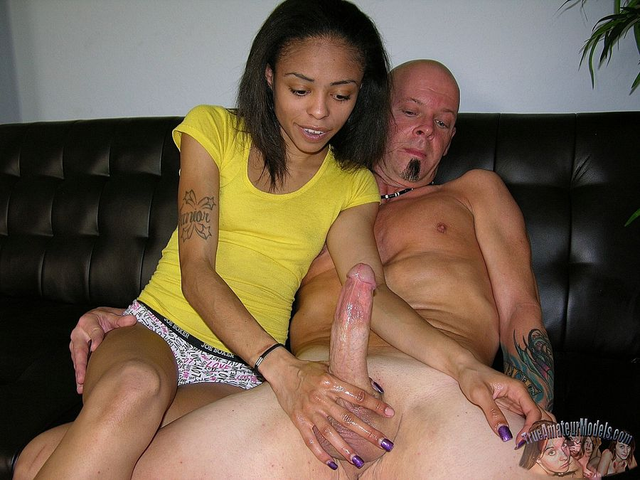 Girl with black help handjob