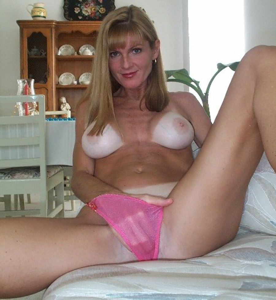 Lines tits milf blonde big tan